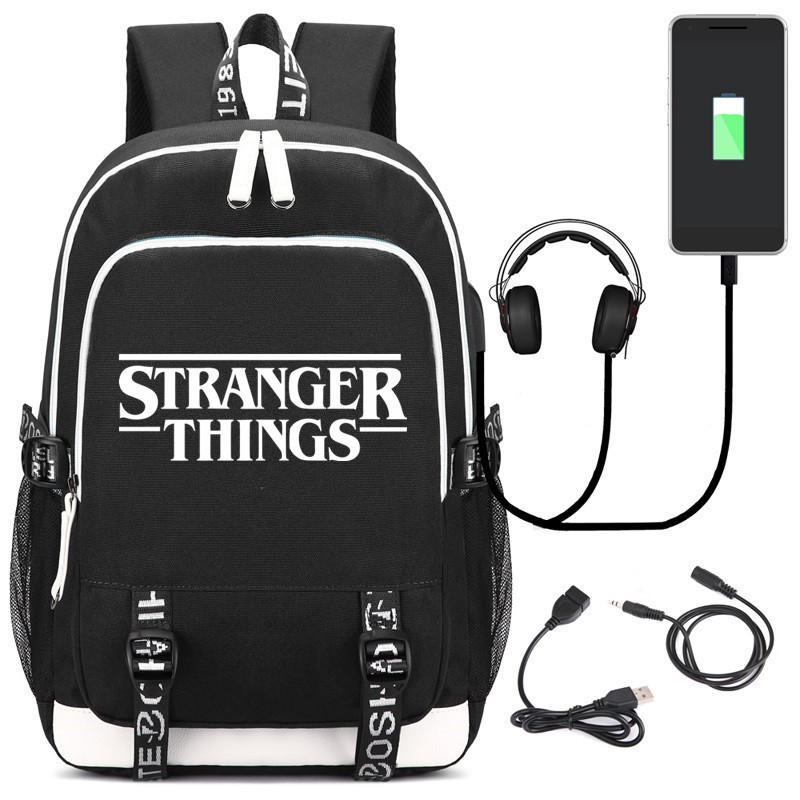 New Luminous Bag Multifunction USB Charging Stranger Things Travel Canvas Student Backpack For Teenagers Boys Girls School