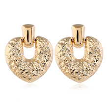 2019 Hot Exaggerated Metal Geometric Love Earrings Autumn New Elegant Accessories Statement Jewelry