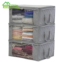 New 3Pcs Non-Woven Family Save Space Foldable Clothes Organizer Home Storage Box Quilt Bag Holder