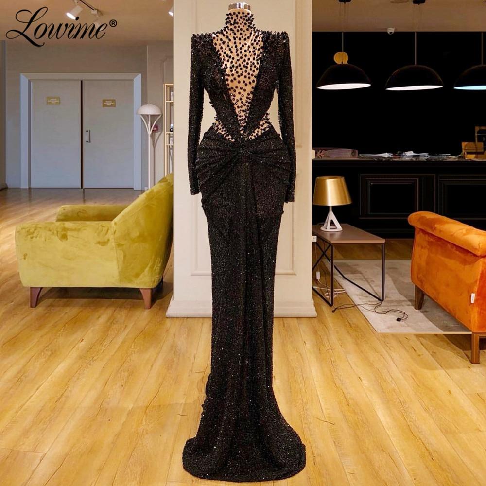 High Neck Glitter Black Turkish Dubai Women Evening Dress Mermaid Pageant Party Gown 2020 Arabic Custom Prom Dresses Vestido