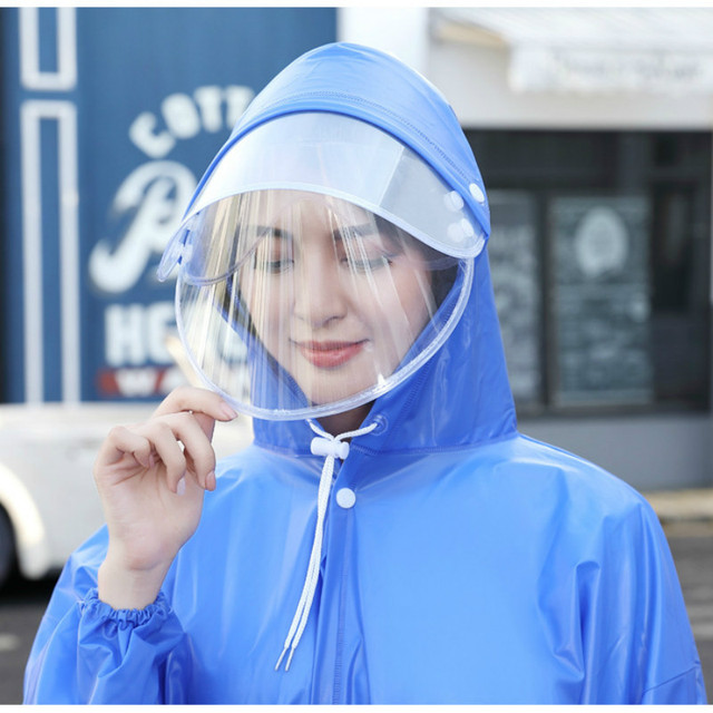 Non-disposable EVA  Raincoat  W Face Mask Shields Thickened Waterproof Anti Saliva Dust Proof Safety Coat Camping Rainwear Suit
