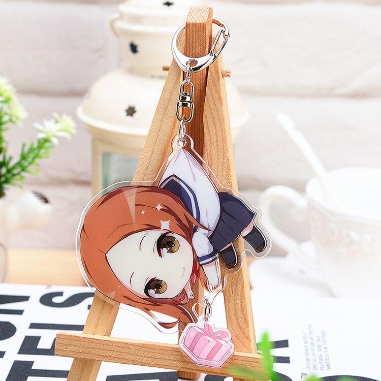 Anime Keychain Teasing Master Takagi-san Karakai Jouzu No Cosplay Q Version Keyring Acrylic Figure Pendants XMAS Gift