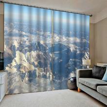 mountain curtain 3D Window Curtain Luxury living room decorate Cortina white cloud