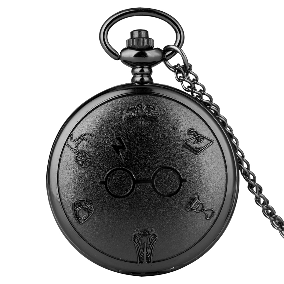 Harajuku Harry Flash Glasses Chain Pocket Watch Orange Lightning Glasses Dial Analog Necklace Graphic Chain Art Antique For Men