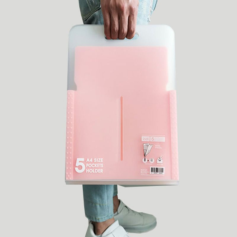 New 5 Grid Vertical Organ Bag Document File Folder Portable A4 Organizer Paper Holder 34.5x24cm
