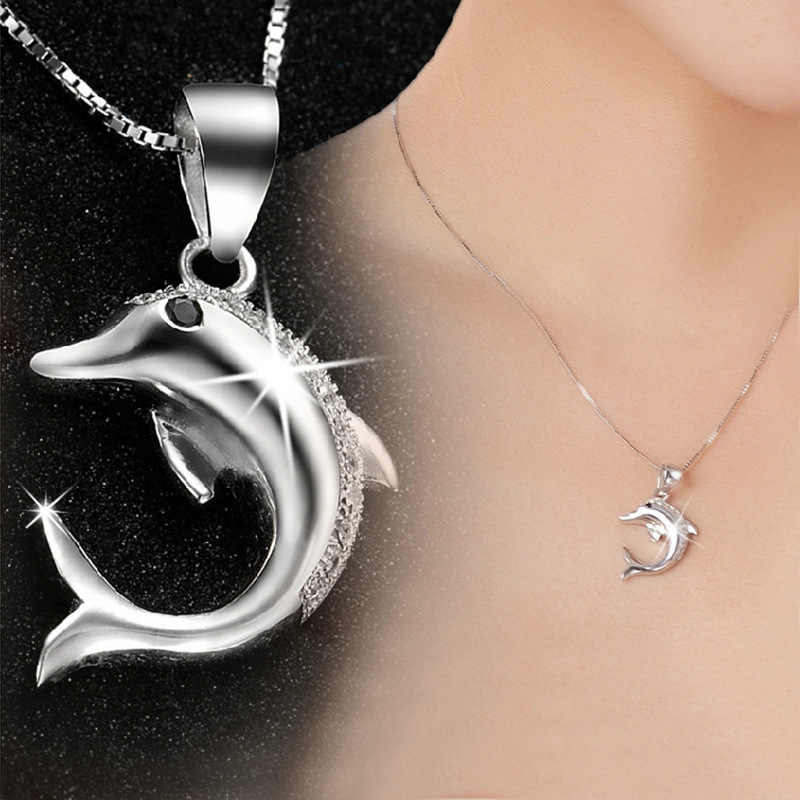 AAAA+ zircon stone dolphin Pendant Necklace top quality silver charm birthday gift girl party free drop shipping fashion jewelry