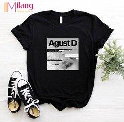 Женские черные футболки Agust D, женские футболки с коротким рукавом 2020, летняя брендовая одежда Vogue, топы для девочек