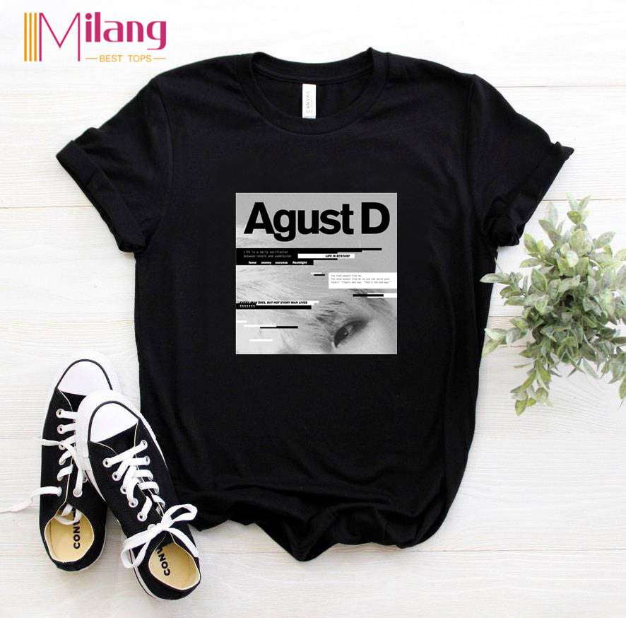 Women  Agust D Black T-shirts Female Short Sleeve Tees 2020 Summer Brand Vogue Choose Clothing Girl Tops