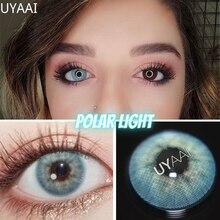 2 pces/1 par de lentes com diopters cinza cor miopia lentes de contato aurora europa seriers olho cor lentes de contato anual uyaai
