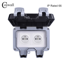 Coswall IP66 مانعة لتسرب الماء في الهواء الطلق الجدار مقبس الطاقة 16A مزدوج الفرنسية القياسية الكهربائية المخرج التأريض التيار المتناوب 110 ~ 250 فولت
