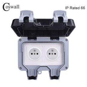 Image 1 - Coswall IP66 Chống Chịu Thời Tiết Chống Nước Ngoài Trời Tường Ổ Cắm Điện 16A Đôi Pháp Tiêu Chuẩn Ổ Cắm Điện Nối Đất AC 110 ~ 250V