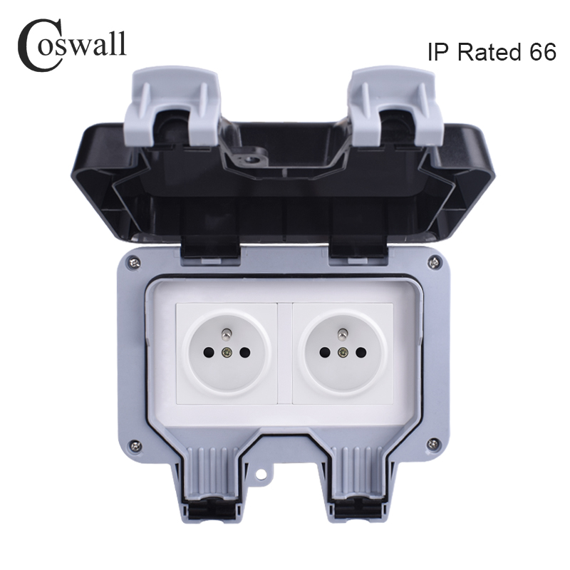 Coswall IP66 Weatherproof Waterproof Outdoor Wall Power Socket 16A Double French Standard Electrical Outlet Grounded AC 110~250V