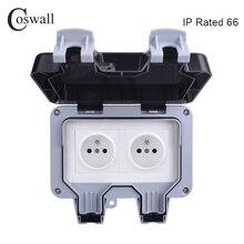 Coswall IP66 Weerbestendige Waterdichte Outdoor Stopcontact 16A Dubbele Franse Standaard Stopcontact Geaard Ac 110 ~ 250V