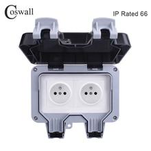 Coswall toma de corriente de pared para exteriores, toma de corriente de pared a prueba de agua IP66, resistente al agua, doble salida eléctrica francesa de 16A, conexión a tierra AC 110 ~ 250V