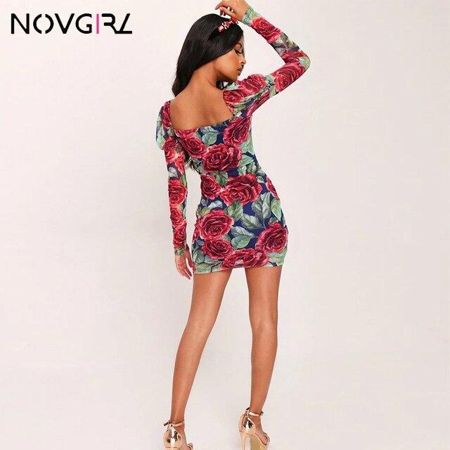 Novgirl Rose Print Bodycon Party Dress Women Autumn Long Sleeve Elegant Square Neck Sexy Dress Christmas Festival Vestidos