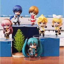 6 Pcs/lot 8cm HATSUNE MIKU Figure Rin Len Ruka Kaito Meiko Anime PVC Figure toys цена и фото
