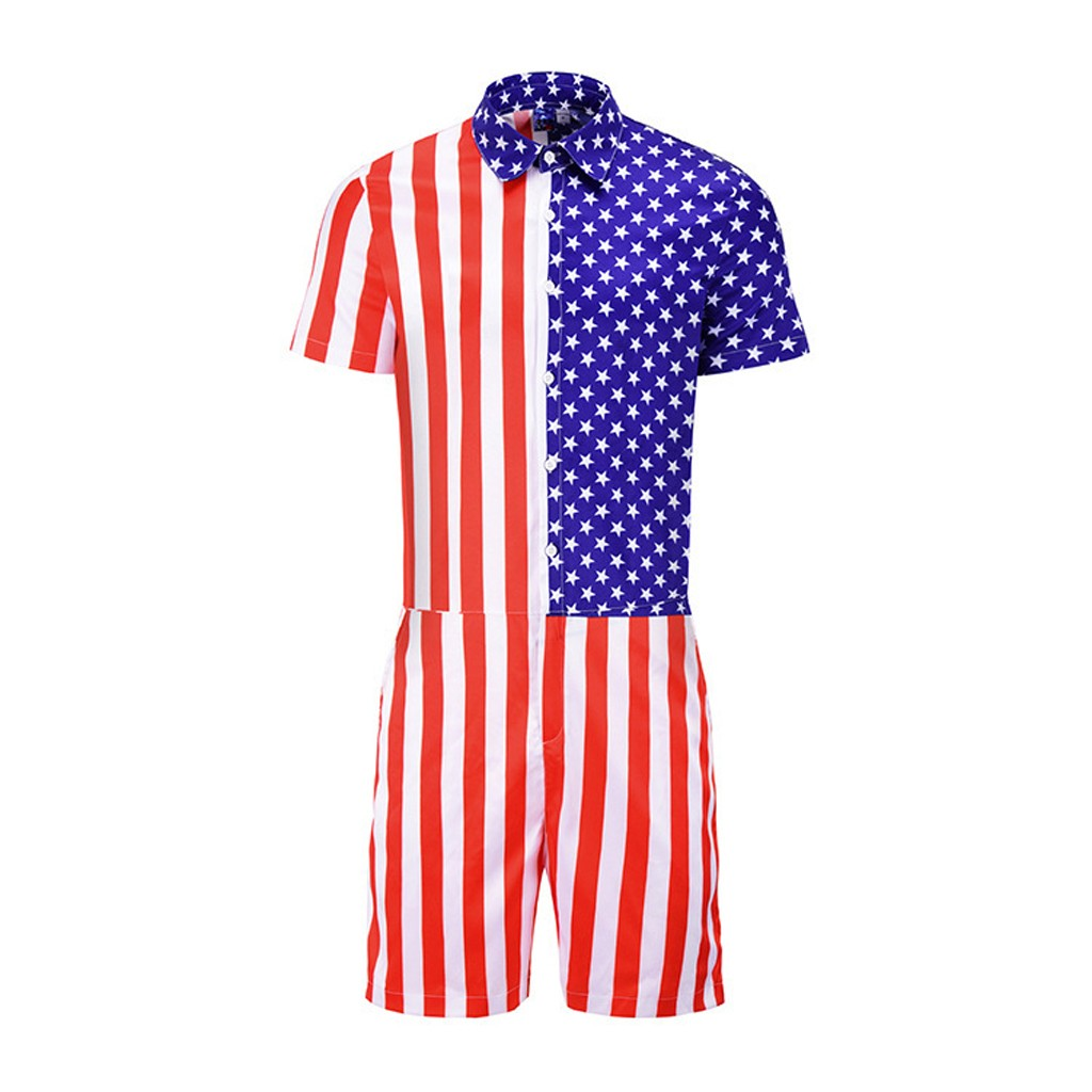 Summer Fashion Men's Cotton Men's American Flag Striped Button Short Sleeve Turn-down Collar Top Shirt Siamese Pants 1.17