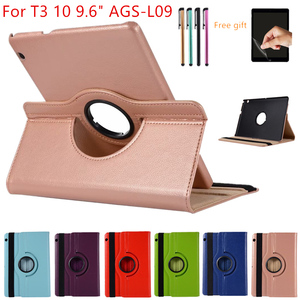 """Case For Huawei MediaPad T3 10 9.6inch AGS-L09-L03 W09 Leather Cover 360 Rotating Tablets for Honor Play Pad 2 9.6""""Case+Film+Pen(China)"""