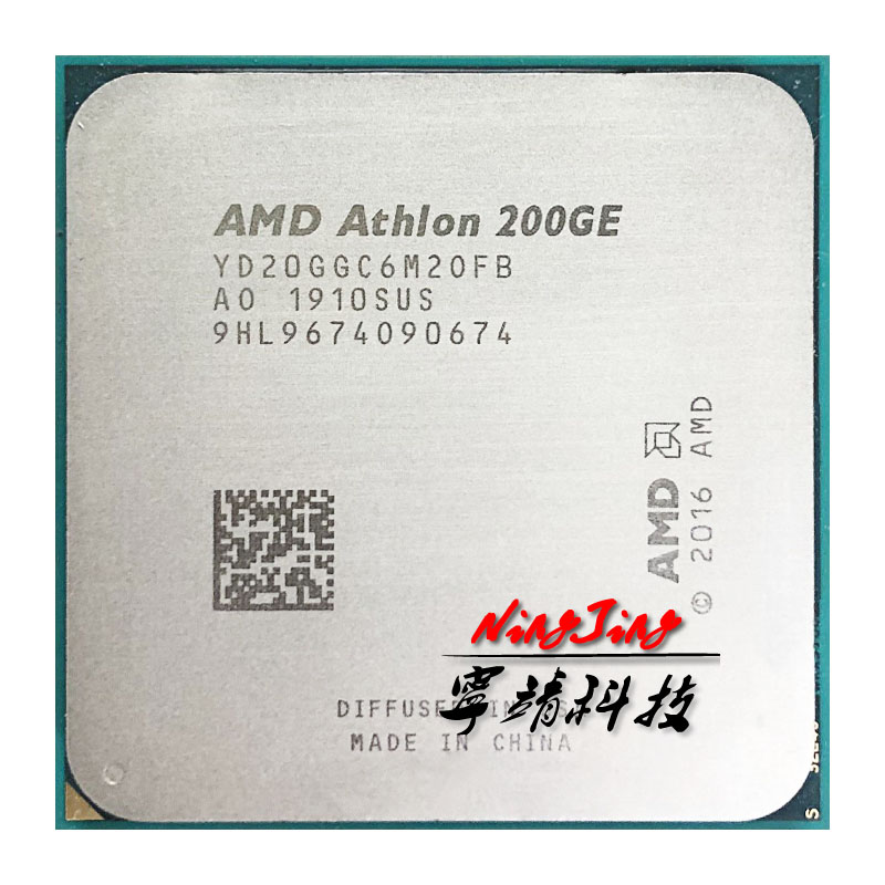 AMD CPU Dual-Core X2 200ge Quad-Thread AM4 Ghz Processor-Yd200gc6m2ofb/yd20ggc6m2ofb-Socket