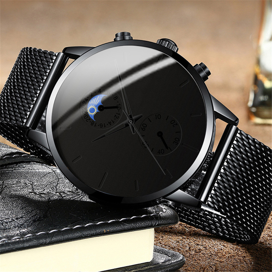 Hf16216ac5cfb40ab92642aad96ae99f7K Fashion Mens Business Black Watches Luxury Stainless Steel leather Belt Watch Quartz Men Wrist Watch Relojes Hombre
