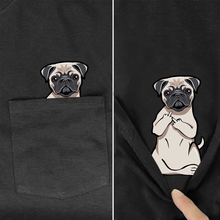 funny T Shirt Fashion Brand summer pocket dog printed t-shirt men's for women shirts Hip hop tops funny cotton tees