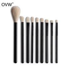 Ovw cosméticos cabra cabelo escova de olho cônico mistura conjunto kit pincel maquiagem cerdas naturais sintético doninha preto lidar com