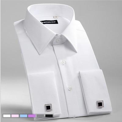 Men's Dress Shirts Loose French Cuff Regular fit Luxury Striped Business Long Sleeve Cufflinks Social Pluse Size Men Shirt 6XL 7