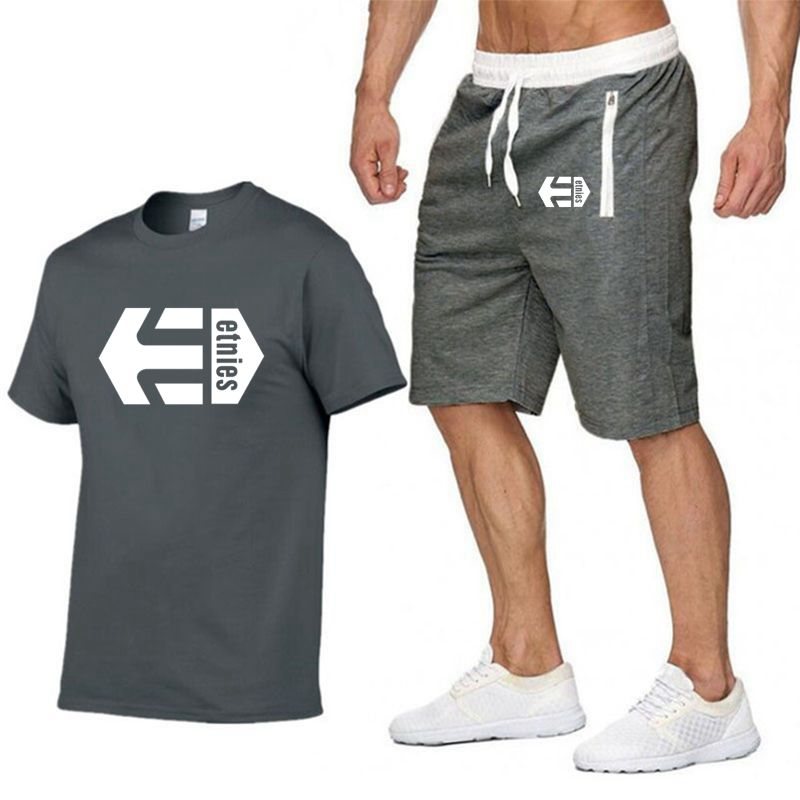 Latest Model Etnies Men's Casual T-shirt Gyms Fitness Pants Men Summer Special Offer Men Sets T-shirts   Two-piece