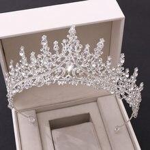 KMVEXO barroco Vintage de lujo real reina rey de boda de cristal corona coronas tiaras nupciales diadema de novia fiesta noche joyería del pelo