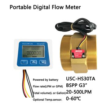 US211M Lite DN80 20-500L min cyfrowy miernik przepływu 5V czytnik przepływu kompatybilny ze wszystkimi naszymi efekt halla czujnik przepływu wody z tanie i dobre opinie Ultisolar CN (pochodzenie) Hydraulika US211M Lite-USC-HS30TA Mężczyzna BSPP Gwint BSPP3