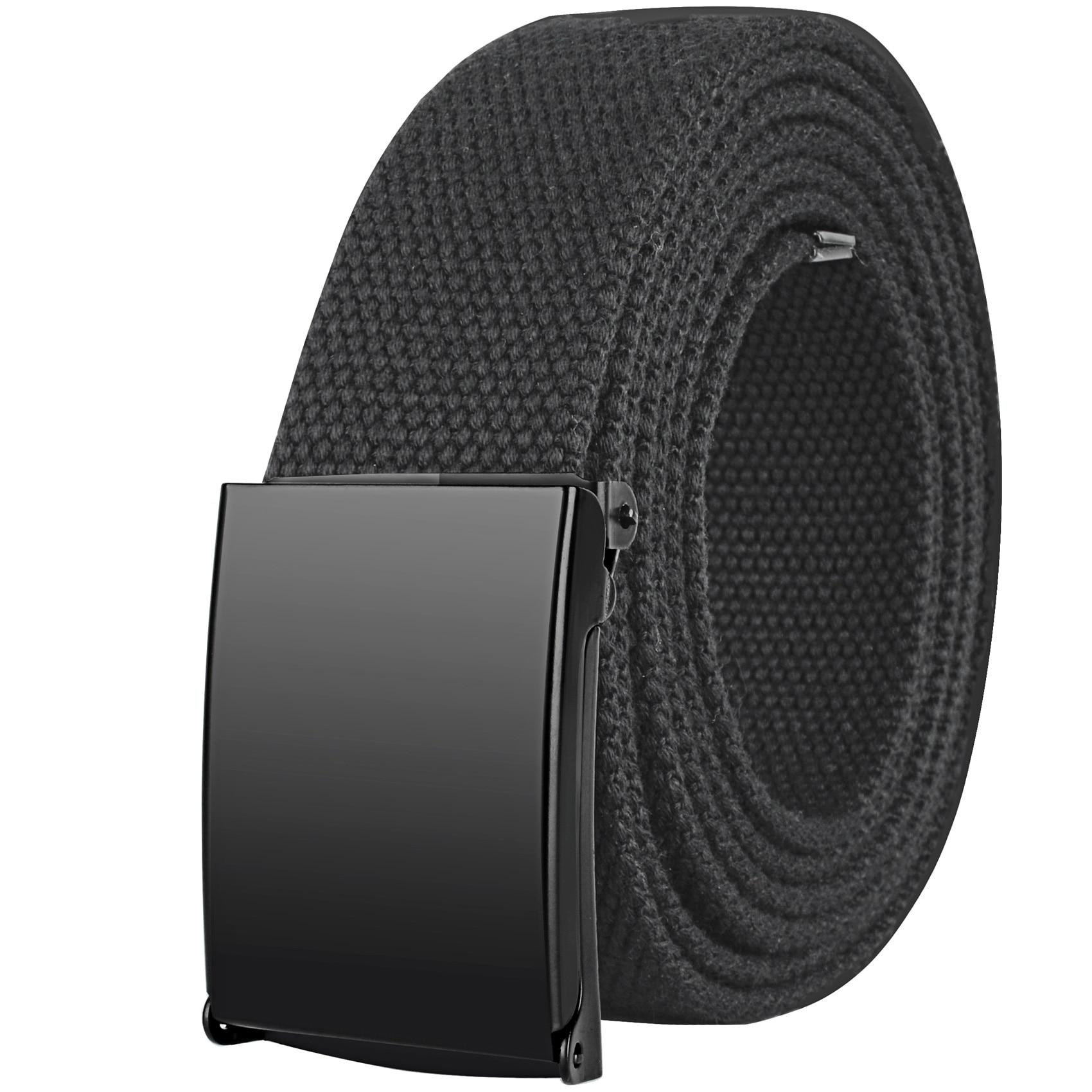 Drizzte Plus Size Belt 100cm To 190cm /39''-75'' Long Canvas Colth Fabric Web Black Unisex