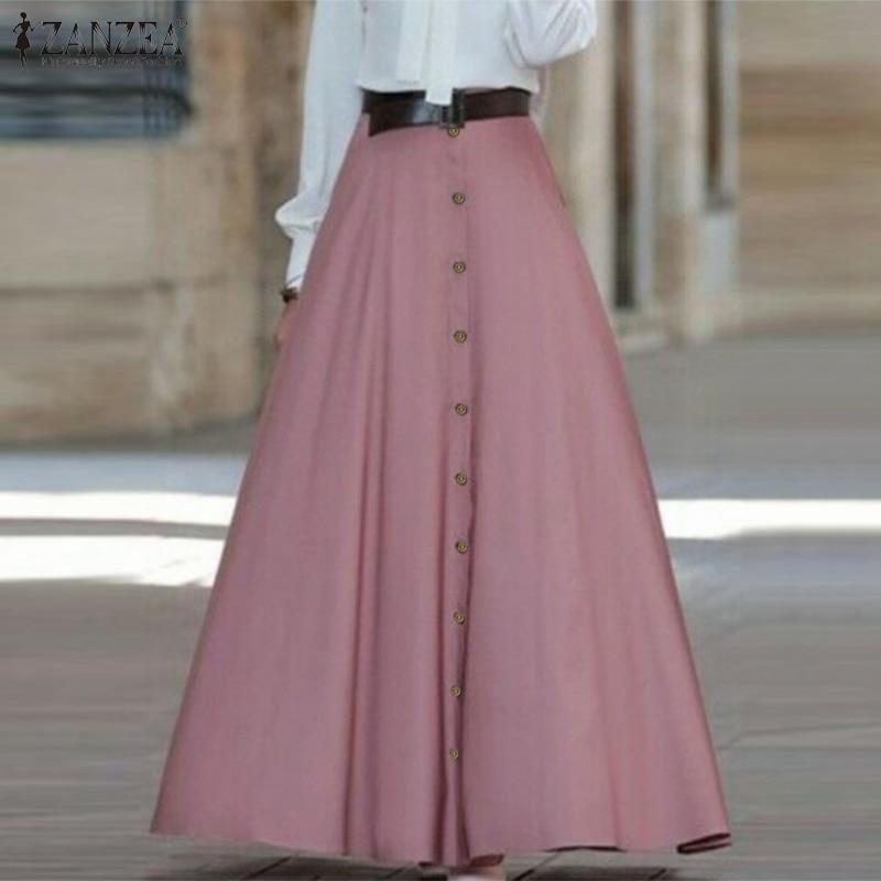 ZANZEA 2020 Spring Women Long Maxi Skirt Elegant Office Lady High Waist A Line Skirts Vintage Faldas Mujer Casual Jupe Femme 5XL