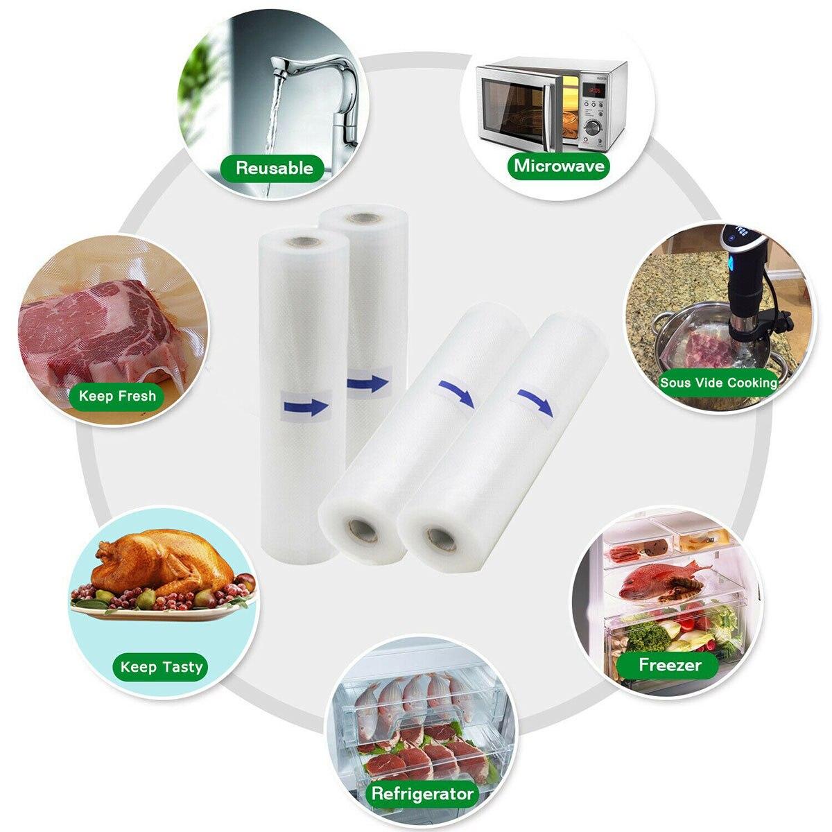 Новинка, 4 рулона, 20 м, кухонный вакуумный упаковщик для еды, сумка для хранения, рулон, мешок для уплотнения пищевых продуктов, сумка для хранения продуктов, 28X500 см