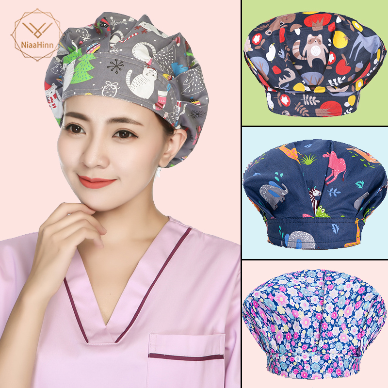 Breathable Adjustable Pet Hospital Cap Unisex Christmas Print Medical Surgical Cap Dentistry Pharmacy Nurse Hat Beauty Salon Hat