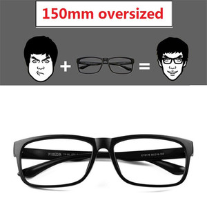 Image 2 - Vazrobe 150mm ponadgabarytowych okulary ramka mężczyźni kobiety Fat Face okulary człowiek TR90 okulary na receptę obiektyw mężczyzna czarny