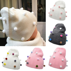 New Winter Autumn Baby Hat Warm Knitted Baby Hat Winter Children Hat For Girl Boys Solid Color Girl Hat Knitted Girl Hat