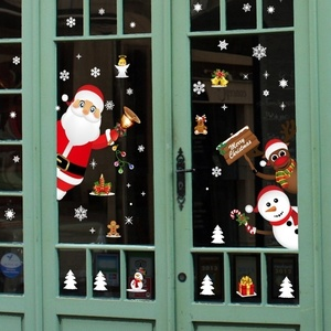 Image 3 - Cartoon Christmas Stickers for Window Showcase Removable Santa Clause Snowman Home Decor Decal Adhesive PVC New Year Glass Mural