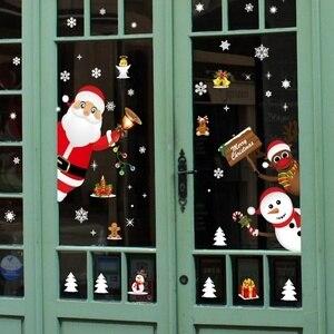 Image 3 - Cartoon Weihnachten Aufkleber für Fenster Schaufenster Abnehmbare Santa Klausel Schneemann Wohnkultur Aufkleber Adhesive PVC Neue Jahr Glas Wandbild