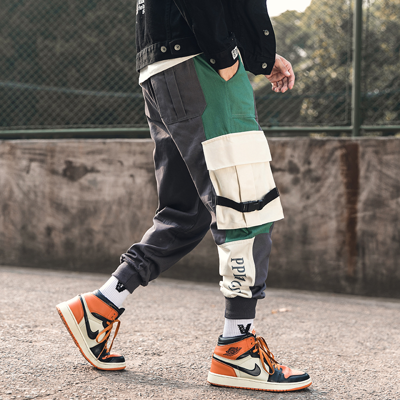 Hot New Original Design Japan Style Elastic Waist Fashion Men's Joggers Trousers Color Patchwork Ribbons Casual Pants Streetwear