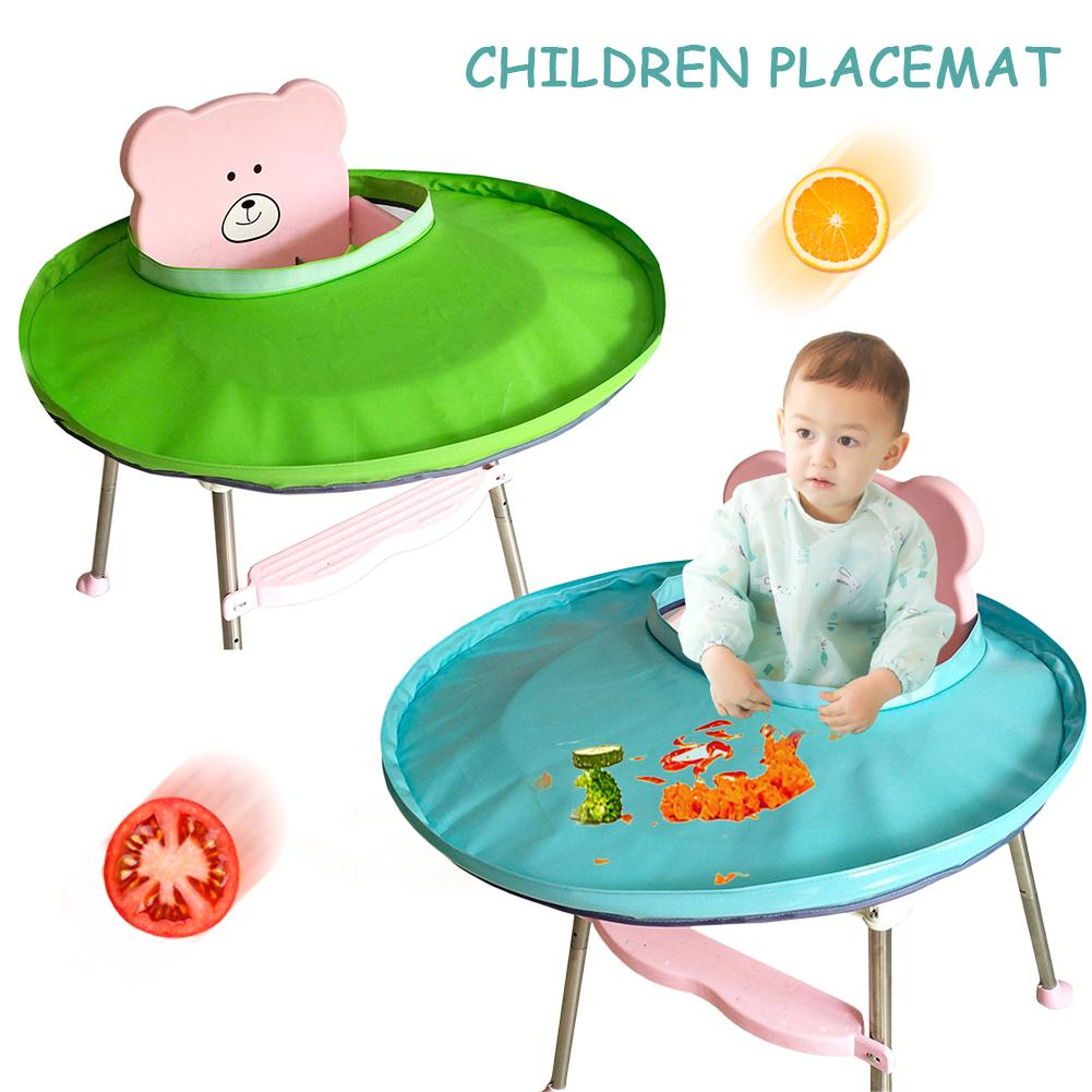 Children Placemat Solid Color Fabric Baby Dining Tray Anti-Cloth Stains Waterproof Material  Blue Green Placemat