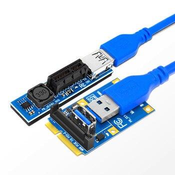 Mini PCI-E PCI-E X1 yükseltici kartı PCI Express X1 yuvası çift SATA güç konektörü 60cm USB 3.0 kablo uzatma port adaptörü kurutucu