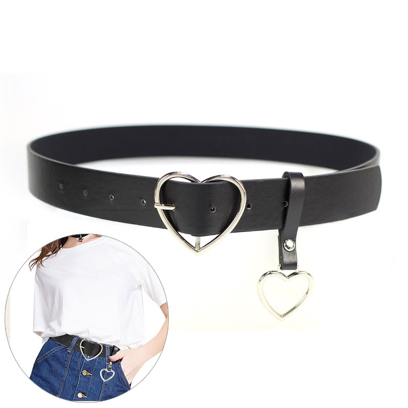 Casual Simple Belt Metal Heart Pin Buckle Belts For Women Waistband Heart Pendant PU Leather Waist Women Belts Ceinture Femme