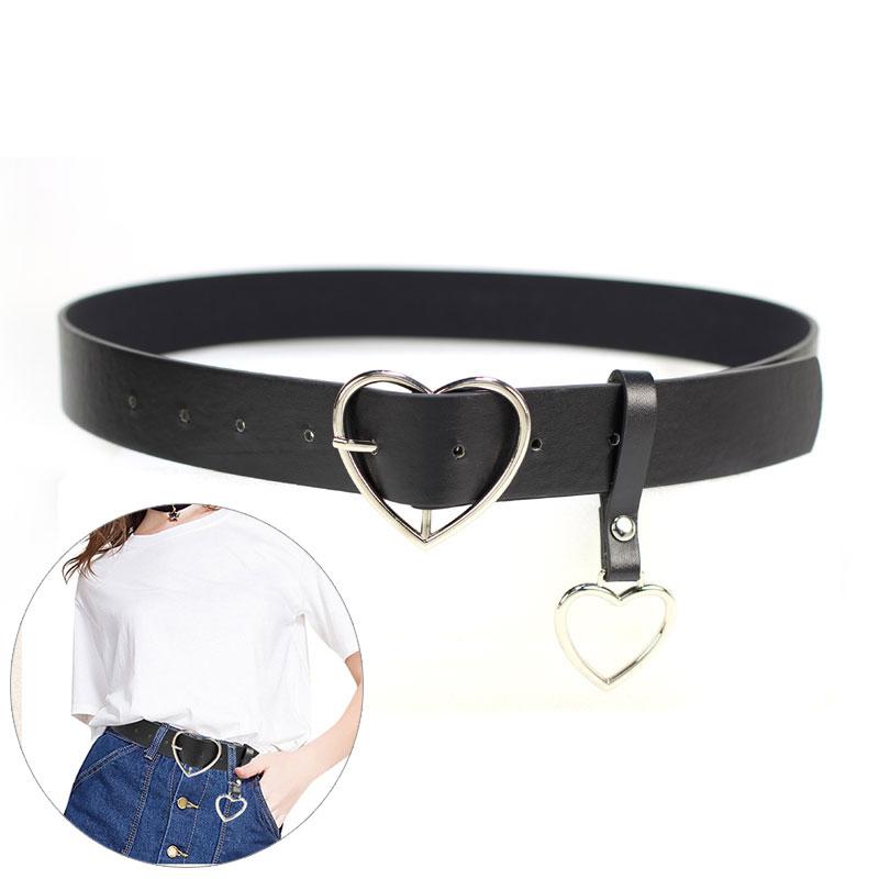Casual Simple Belt Metal Heart Pin Buckle Belts For Women Waistband Heart Pendant PU Leather Waist Women Belts Ceinture Femme