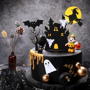 Image 3 - Halloween narzędzie do dekoracji ciast karta czarny zamek Batman flaga dyniowa wiedźma deser ciasto dekoracja na wierzch materiały urodzinowe
