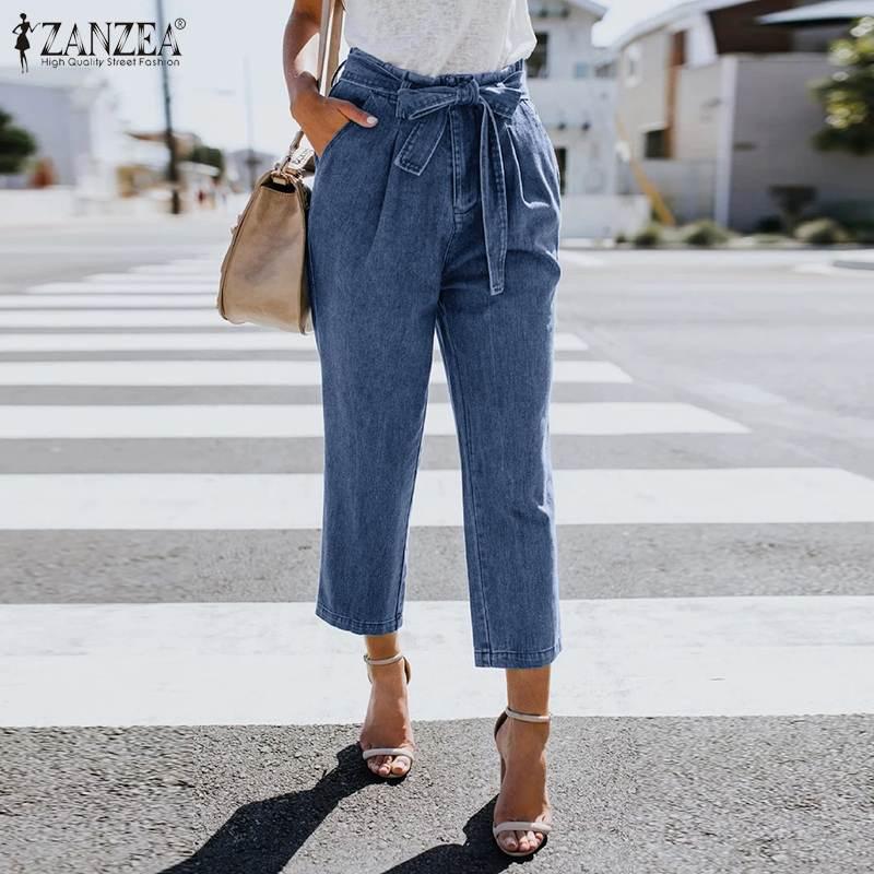 ZANZEA Ladies Casual Pants Women Solid Pockets Work Chic Trousers 2020 Vintage Female Cotton Linen Bottoms Streetwear Plus Size