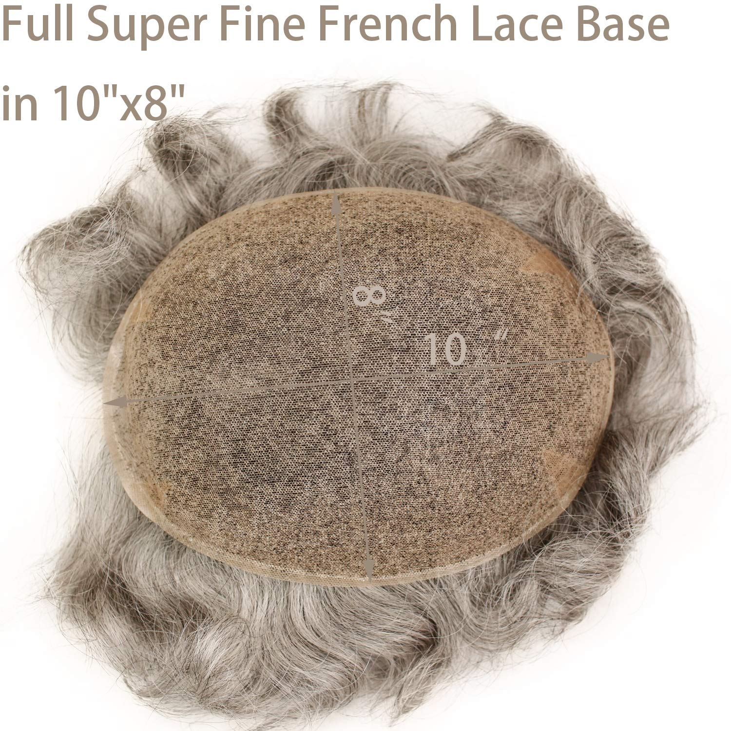 Swiss Full Lace Men's Toupee 1B Black Color Real Human Hair Mixed 80% Grey Synthetic Hair Replacement for Men Hairpiece 10X8