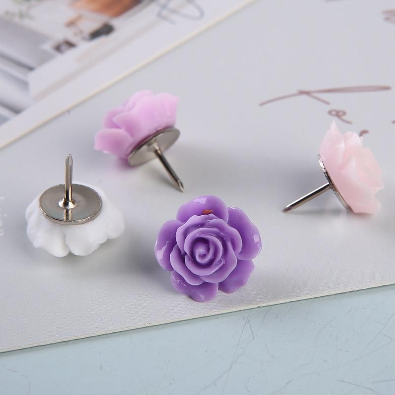 MOGII 16pcs/Box Cute Rose Flower Decorative Thumbtacks Cork Board Push Pins for Office School Supplies
