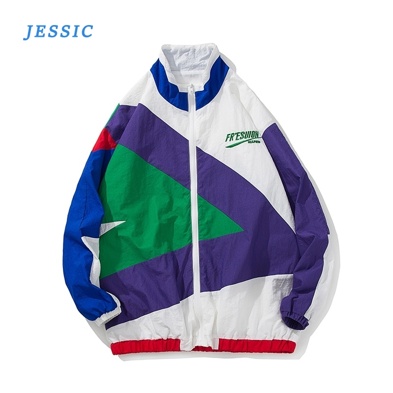 JESSIC Streetwear Jacket Retro Color Stitching Full Zip Windbreaker Jacket Spring Autumn Casual Hip Hop Coat Youth