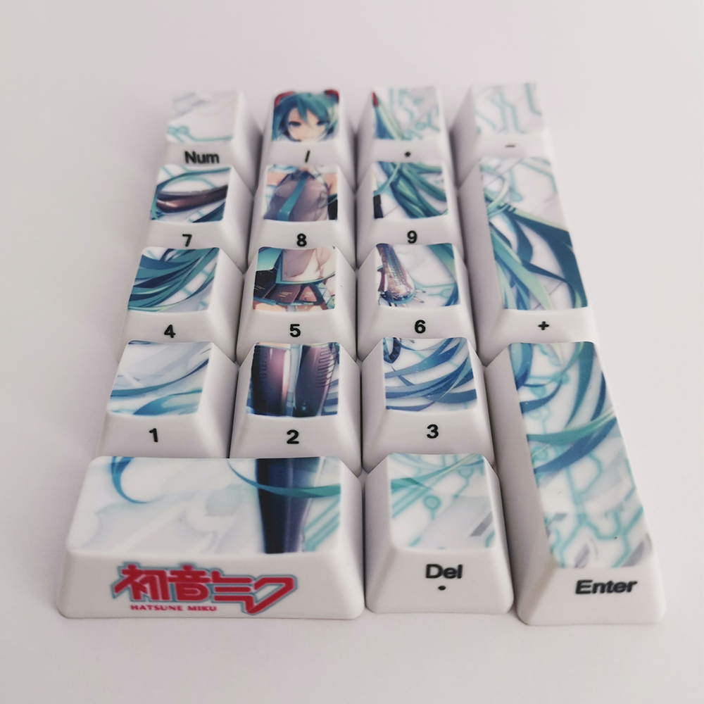 Image 2 - 17 Keys Hatsune Miku Number Keycaps PBT Thicken OEM Profile Side Character Caps For Cherry Mx Switch Mechanical KeyboardKeyboards   -