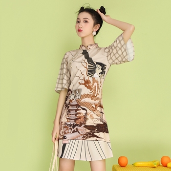 2020 new summer new style cheongsam section temperament young section student girls cheongsam improved version of thin dress традиционное китайское платье brand new peking cheongsam ccw005
